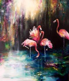 Beautiful colorful painting of Pink Flamingos by Katy Jade Dobson / Oil painting flamingos #OilPaintingColorful #OilPaintingArtists