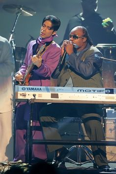 Prince and Wonder (2006): The Purple One and Stevie Wonder perform during the BET Awards at the Shrine Auditorium in Los Angeles.