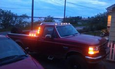 "Great picture thanks to Charlie Krettler! 6 Amber Maxxima 3/4"" round LED's mounted in the cab guard & toolbox. Not seen: 2 red 3/4"" round LED's mounted in back of toolbox, 3 more ambers under the front bumper & 20 reds under tailgate"