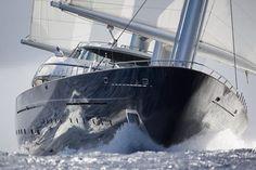 Shiny hull mega yacht detailing