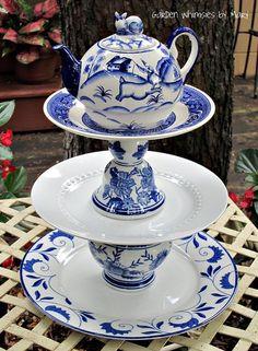 Garden Totem / Centerpiece / Dessert Stand by GardenWhimsiesByMary, $45.00