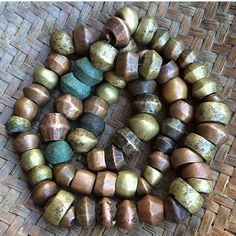 Antique bronze and copper hammered beads, Nigeria Africa.
