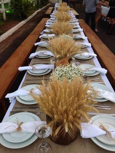Rustic Wedding Table. Pinned by Afloral.com ~Shop Afloral.com for wheat and raffia to DIY this look