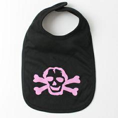 Pink Scribble Skull Baby Bib