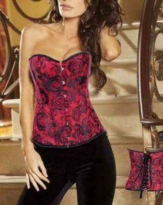 Llamativo Corsé Rojo Floral que combinará con todas tus prendas. Un corsé ideal para todas las ocasiones. Con motivos florales en negro y rojo que te harán ser el centro de las miradas.