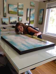 Studio shot ....the final step ....  Buffing my Encaustic artwork   It brings out the depth and adds a gorgeous sheen!