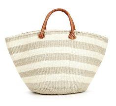 beige stripe beach bag