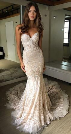 Browse Our Large Selection of Wedding Dresses,Luxurious Sweetheart Strapless Lace Wedding Dresses,Trumpet Court Train Bridal Gown at Simibridaldresses