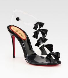 959d365edcfd Louboutin Translucent Bow Bow Patent Leather Sandals in Black -