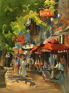 """Lunch time in Morristown, NJ by Jinnie May Watercolor ~ 30"""" x 22"""""""