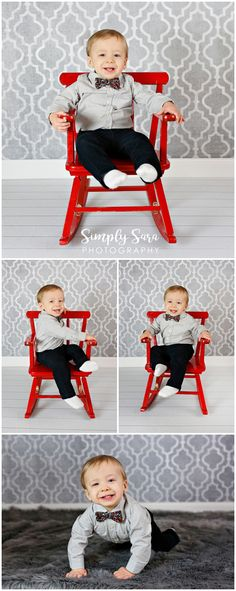 1 Year Old Boy Photo Shoot Ideas & Poses - Indoor Session - Bow Tie - Red Chair - Billings, MT Child & Portrait Photographer