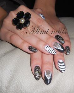 gorgeous black gold white pointed nails