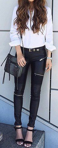 fall outfit ideas / white shirt + leather pants