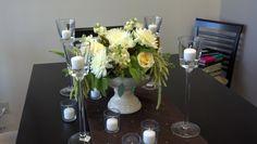 Creme de la creme roses, white spider mums and hanging amaranthus in a pedestal vase - by Pamela for Michael's Flower Girl