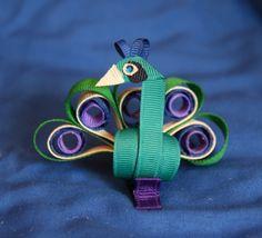 Elegant Peacock Sculpted Ribbon Hair Clip by CelticTideCreations, $7.75