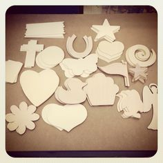 This is the stash of wooden craft shapes our three prize winners got following our impromptu Facebook competition. Steve :-) Wooden Craft Shapes, Wooden Crafts, Facebook Competition, Wedding Ideas, Wood Crafts, Wedding Ceremony Ideas