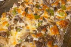 This Philly Cheese Steak Casserole is such an easy delicious dinner! Full of the Philly Cheese Steak flavor you love, but baked up in a delicious noodle casserole! Steak Dinner Recipes, Beef Recipes, Cooking Recipes, Kitchen Recipes, Appetizer Recipes, Easy Recipes, Dessert Recipes, Appetizers, Desert Recipes