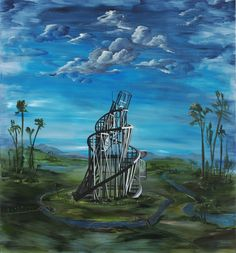 Ozbolt Tower of Babel, 2010  Acrylic on board  140 x 130 x 4.5 cm / 55 1/8 x 51 1/8 x 1 3/4 in