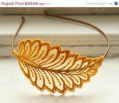 Lace Headband - Manae in Mustard - Leaf Bridesmaid Fascinator - Hair Accessory For Her. $24.00, via Etsy.