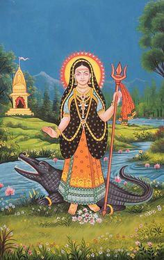 Khodiyar Mata (Rare Goddesses of India), Large Water Color Painting On Cotton Fabric Maa Image, Maa Durga Image, Indian Goddess, Durga Goddess, Durga Kali, Kali Hindu, Durga Images, Lord Krishna Images, Maa Wallpaper