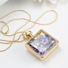 Purple Dried Flower Collares  Glass Square Pendant Necklace Gold Color Long Chain Statement Necklace Women Fine Jewelry 2015