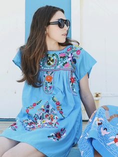 Teal Blue 70s Mexican Hand Embroidered Cotton Shift Dress M L. $95.00, via Etsy.