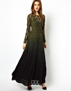 Olive dress with lace insert and dip-dye.