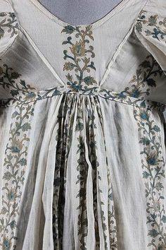 A printed muslin day dress, circa 1800-1810