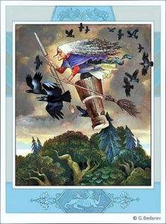 Baba Yaga, Myth Stories, Raven Art, Crows Ravens, Russian Art, Fantastic Beasts, Faeries, Folklore, Mythology