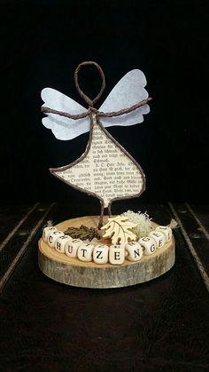 Schutzengel aus Papierdraht auf einer kleinen Baumscheibe! Auf den anderen Bildern seht ihr ein Hochzeitspaar, eine Mama mit Baby oder eine kleine Familie! Es kann individualisiert werden wie ihr...