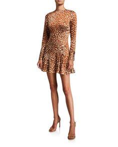 Madhu+Long-Sleeve+Leopard-Print+Flounce+Dress+by+Alexis+at+Bergdorf+Goodman. Bergdorf Goodman, Jojo Fletcher, Camilla Dress, Bias Cut Dress, Illusion Dress, Retail Displays, Shop Displays, Merchandising Displays, Window Displays