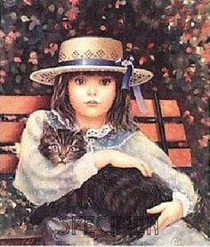 Hat and Cat Paintings I Love, Beautiful Paintings, Vintage Prints, Vintage Art, Artist Brush, Canadian Artists, Pretty Cats, Animals For Kids, Vintage Children