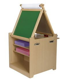 Give budding artists all the tools they need to begin a mini career in abstract finger painting and still-life teddy bear portraits with this versatile desk and easel art cart. It easily folds down for a flat work surface or up for access to handy dry-erase and chalk boards. Plenty of storage space keeps artistic essentials at little fingertips, while the attached clips put the latest masterpiece on display.