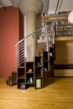 Steps that are also book cases. Minimizing one's foot print. I love tech / d Spiral Staircase Book cases Foot Love Minimizing Print Steps tech Stair Shelves, Staircase Storage, Stair Storage, Book Storage, Storage Ideas, Small Lake Houses, Tiny Houses, Space Under Stairs, Duplex