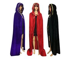 QBSM Halloween Velvet Cloak Witch Costume Hooded Party Raven Cosplay Capes (XL ( ), Black with Gold) Witch Costumes Raven Cosplay, Witch Costumes, Cloak, Hoods, Royalty, Dress Up, Velvet, Capes, Halloween
