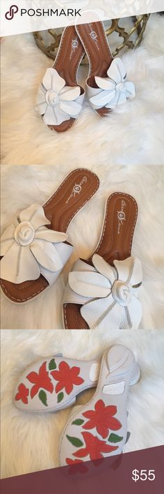 Born crown white plumeria flower shoes Brand new with box born sandals. Plumeria style white size 6. Authentic leather. Born Shoes Sandals