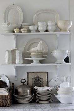 beautiful kitchen shelving with an amazing display of Ironstone dishes & a few other special pieces. Home Decor, Kitchen interiors Kitchen Shelves, Kitchen Dining, Kitchen Decor, Open Shelves, Kitchen Display, Shelf Display, Kitchen Stuff, Dining Room, Cozinha Shabby Chic