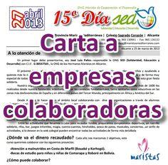 Carta dirigida a las EMPRESAS COLABORADORAS. Anímate y participa.
