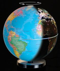City Lights Illuminated Desktop World Globe (Free Shipping)  City Lights™ globes automatically illuminate the cities of our world as seen from orbit, capturing this ethereal beauty. Globe's night image is seen below.