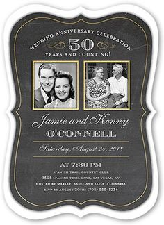 Wedding Anniversary Invitations: Countless Memories, Bracket Corners, Black
