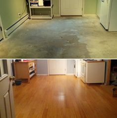 """Before and After – Natural Engineered Bamboo! """"This room was converted from a breezeway into a full kitchen starting with the installation of this beautiful natural strand click bamboo flooring."""" – Randy, NH"""