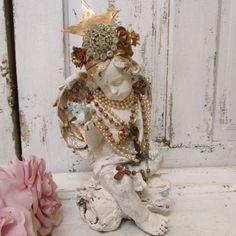 Angel cherub statue distressed shabby chic cream white elaborate hand made crown pearl necklaces anita spero