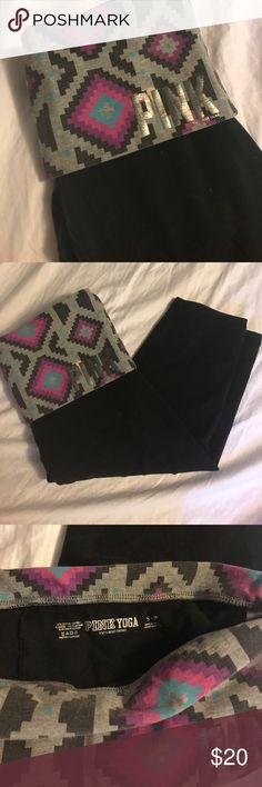 VS PINK Aztec fold over yoga pants Cropped PINK Victoria's Secret Pants Track Pants & Joggers