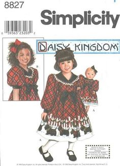 "Daisy Kingdom Dress Size 3-6 + 18"" Doll Pattern 8827 #Simplicity"