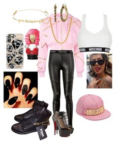 Be like Nicki Minaj by monikaaens on Polyvore featuring polyvore fashion style Moschino Calvin Klein Versace VANINA GUESS Casetify King Ice Nicki Minaj clothing