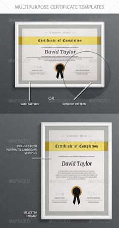 162 best Certificate Template Design images on Pinterest     Multipurpose Certificate Templates   PSD Template     Only available here         http   graphicriver  Certificate DesignBlank