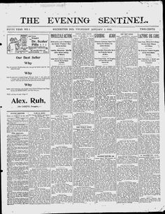 FULTON COUNTY, Indiana - Rochester - 1899-1901. 1903-1904. 1906-1911. The Evening Sentinel - Google News Archive Search