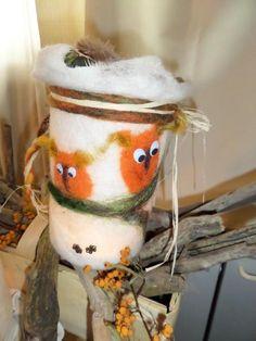 Gefilztes WINDLICHT Eulen ***Handmade*** Wolle von < > Elli´s Hobby < > auf DaWanda.com
