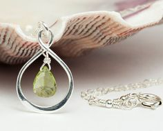 Hey, I found this really awesome Etsy listing at https://www.etsy.com/listing/219347182/peridot-infinity-necklace-august