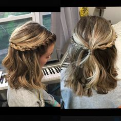 Half Up Half Down with French twist accents.